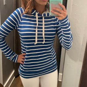 J. Crew blue and white striped Terry cloth hoodie